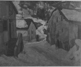 Dorfstraße im Winter