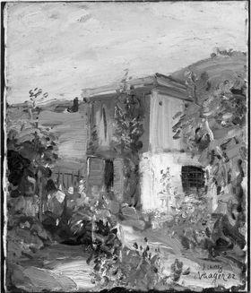 Garten mit kleinem Landhaus