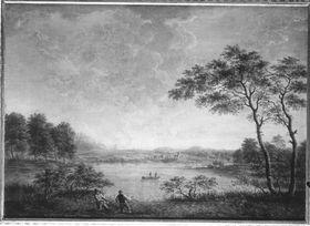 Fischer an einem breiten Fluss