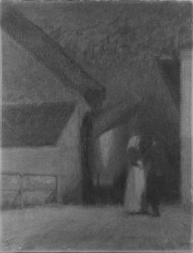 Bauernpaar zwischen Häusern