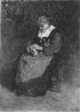 Alte Frau mit Katze und Bierkrug