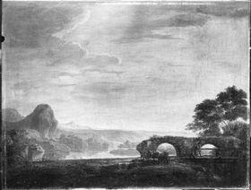 Landschaft mit Brückenruine