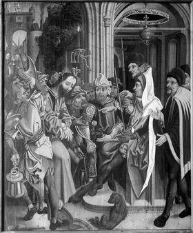 Christus vor dem Hohenpriester Rückseite: Reliefspuren