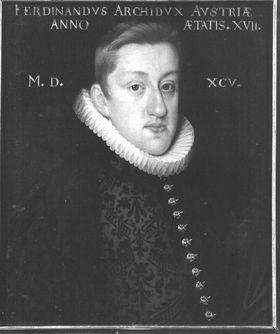 Erzherzog Ferdinand von Österreich, späterer Kaiser Ferdinand II., im Alter von 17 Jahren