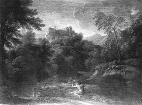 Klassische Landschaft mit vier ruhenden Figuren