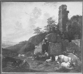 Abendlandschaft mit Vieh