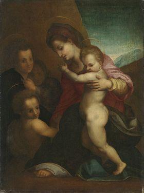 Maria mit Kind, dem Johannes und Engeln