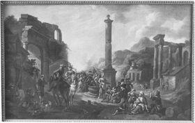 Volkstümliche Szene zwischen antiken Ruinen
