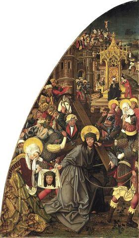 Passionstafel, linke Tafel: Kreuztragung Christi