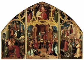 Basilika San Paolo fuori le mura, Mitteltafel: Dornenkrönung Christi, Predigt, Enthauptung und weitere Szenen aus der Legende des hl. Paulus