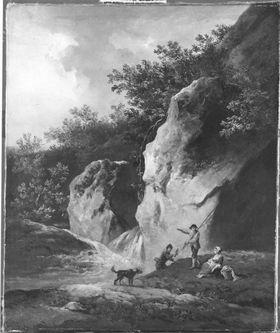 Zwei Fischer, ein Mädchen mit Hund an einem Gebirgswasserfall