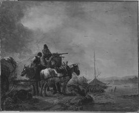 Zwei losgespannte Pferde am Fluss