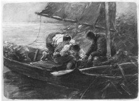 Segelboot mit drei Personen