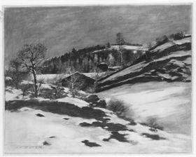Verschneite, hügelige Landschaft mit zwei Häusern