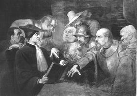 John Knox mit Soldaten disputierend