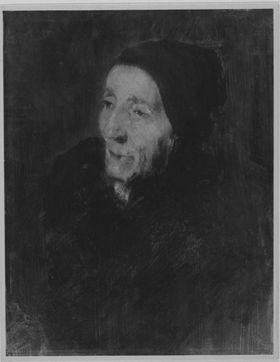Alte Bäuerin mit schwarzem Kopftuch