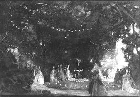 Gartenfest bei Nacht