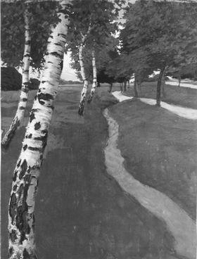 Vier Birken und andere Bäume auf einer von Bächen durchzogenen Wiese