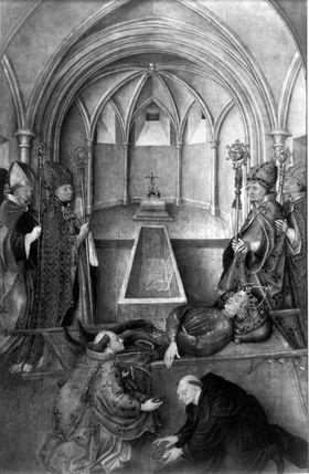 Tabula Magna: Bestattung des hl. Quirin (Fleischwunder in der Tegernseer Krypta) (Abgetrennte Rückseite: Entkleidung Christi)