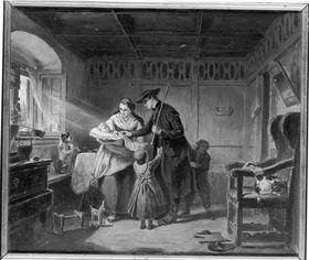"""Illustrationen zu Melchior Meyrs """"Erzählungen aus dem Ries"""": Häusliches Glück"""
