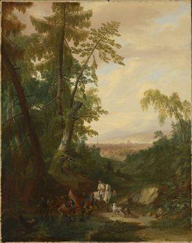 Landschaft mit Reitern in einem Hohlweg