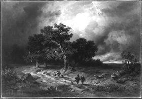 Gewitterlandschaft mit heimziehenden Jägern