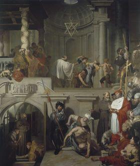 Papst Nicolaus V. besucht das Grab des hl. Franziskus