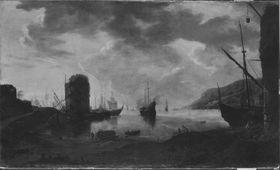 Seehafen mit Schiffen