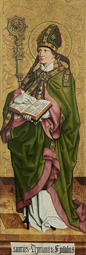 Rechter Altarflügel, Innenseite: Bischof Cyprianus von Karthago