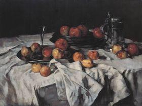 Stillleben mit Äpfeln, Weinglas und Zinnkrug