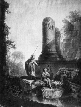 Architekturbild mit zwei Bettlern, Soldat und Hund