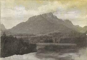 Gebirgslandschaft (Zugspitze mit dem Eibsee?)
