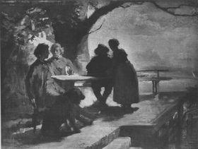 Wilhelm Leibl im Kreis seiner Freunde
