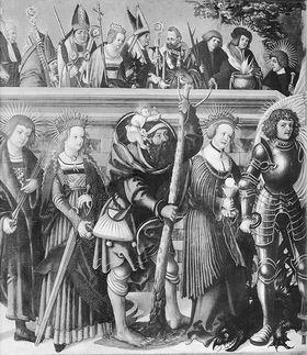 Die vierzehn Nothelfer (Anmontierte Rückseite: Der hl. Philippus weigert sich, den Götzen zu opfern)