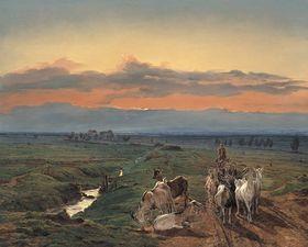 Abendlandschaft mit Ziegenherde