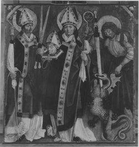 Ein unbekannter hl. Bischof, die hll. Dionysius und Georg