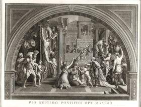 Kirchliche Szene (Stich von Francesco Aquila nach Raffaels Borgobrand)