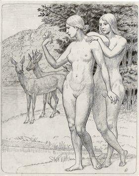 Zwei weibliche Akte mit Rehen in Landschaft Rückseite: Gemalte Landschaft