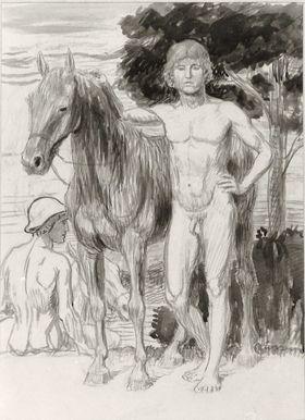 Männliche Akte mit Pferden in Landschaft