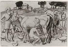 Personen und Vieh in Landschaft
