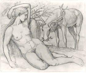 Bachantin - Weiblicher Akt mit Hirsch