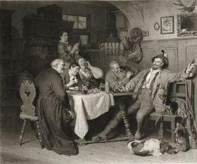 Jägerlatein (Holzstich von Johannes Burger nach einem Gemälde von Eduard Grützner aus dem Jahr 1873)