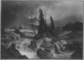 Gebirgslandschaft vor dem Sturm