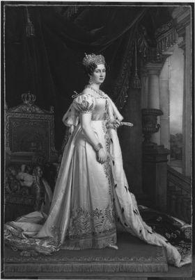 Königin Therese von Bayern im Krönungsornat