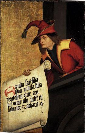 Buxheimer Altar: Prophet Zacharias Rückseite: Teil einer Verkündigung(?)