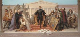 König Ludwig I., umgeben von Künstlern und Gelehrten, steigt vom Thron, um die ihm dargebotenen Werke der Plastik und Malerei zu betrachten