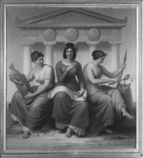 Drei allegorische Gestalten: Baukunst, Bildhauerkunst und Erzgießerkunst