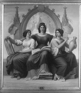 Drei allegorische Gestalten: Freskomalerei, Glasmalerei und Malerei auf Vasen