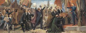 Die Künstler Münchens im Verein mit der Bürgerschaft überreichen König Ludwig I. das für denselben bestimmte Album samt dessen Aufbewahrungsschrein
