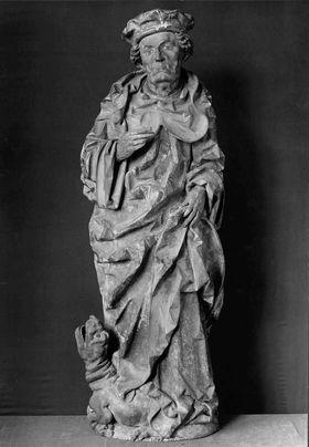 St. Magnus mit Flocke und Barett auf einem Drachen stehend